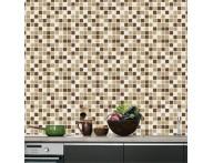 Revestimento autocolante estampa de pastilha Palha e marrom- Adesivo para aplicação sobre azulejos ou paredes