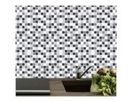 Revestimento autocolante estampa de pastilha preto e cinza- Adesivo para aplicação sobre azulejos ou paredes