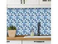 Revestimento autocolante estampa de pastilha  azul- Adesivo para aplicação sobre azulejos ou paredes
