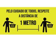 Adesivo para Piso - Pelo Cuidado de Todos Respeite a Distância de 1 Metro