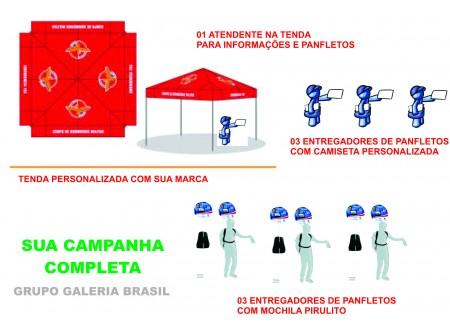 CAMPANHA DE MARKETING E Street Marketing COMBO COMPLETO COM TENDA PERSONALIZADA ENTREGA DE PANFLETOS E MARKETING DIRETO