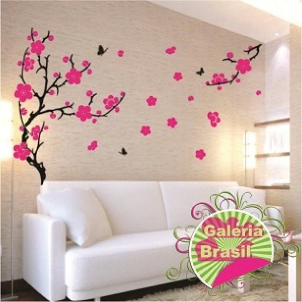 Adesivo árvore Com Flores Rosa