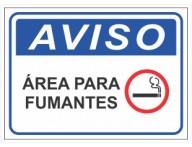 PLACA DE AVISO ÁREA PARA FUMANTES