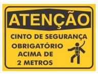 PLACA DE SINALIZAÇÃO OBRIGATÓRIO CINTO