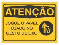 PLACA DE SINALIZAÇÃO PAPEL NO LIXO