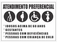 ADESIVO PLACA DE SINALIZAÇÃO ATENDIMENTO PREFERENCIAL