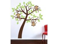 Adesivo árvore com macaquinhos